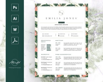 Leaf Floral Resume Template / CV template / FREE Cover letter