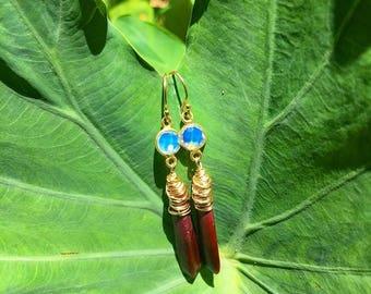 Opalite and Urchin Earrings