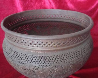 Perfect Vintage Old Ottoman Antique Art Style Hand Carved PerforatedBrassr Pot / Lota #DP1