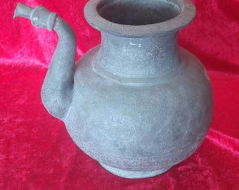Ottoman Antique Old Style Very Rustic Hand Made Copper Pitcher #1132