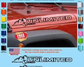 Jeep WRANGLER Mountain Hood Decal Stickers 1 Pair SH-116