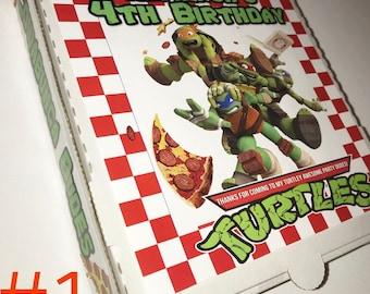 Teenage Mutant Ninja turtle pizza box, tmnt party favor, ninja turtle, party boxes