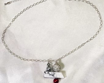 Contemporary silver and red necklace