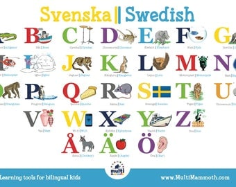 Swedish English bilingual alphabet