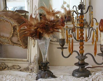 Antique French Amber Glass Girandole Table Chandelier 1900s