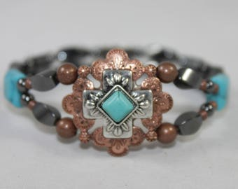 Copper Tone & Turquoise High Quality Magnetic Bracelet