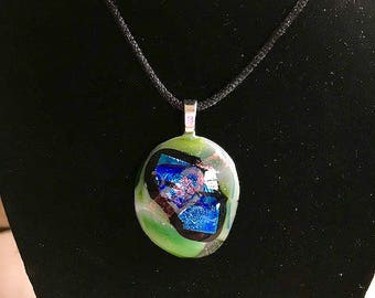 Fused Glass Pendant - Elegant Dichroic Glass - Fused Glass Jewelry