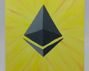 Crypto Painting 4 U - Ethereum Logo w/ Yellow Background