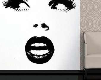 Wall Decal Window Sticker Beauty Salon Woman Face Eyelashes Lashes Eyebrows Brows t662