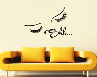 Wall Decal Window Sticker Beauty Salon Woman Face Eyelashes Lashes Eyebrows Brows t671