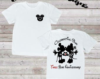 Mickey & Minnie, Celebrating Our Anniversary, couple anniversary shirt, unisex clothing, happy anniversary, disney style, twoateedesigns
