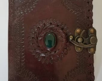 """Hand Made Leather Journal with 1 Lock Closure/Guest book with Polished Stone and handmade Parchment Paper (7""""x5"""")"""