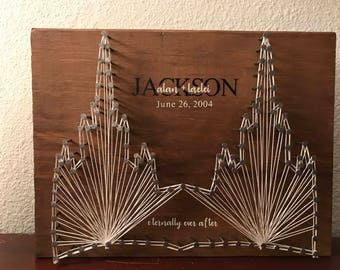 Custom LDS Temple String Art - eternally ever after - sealed since - 10x12 or 12x12