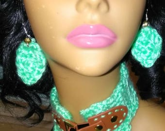 Crochet Leather Diva Any Occasion Gift, Women and Girl Gift, Bright Green Yarn, Brown Leather, Buckle, Jewelry Set, Leaf Earrings