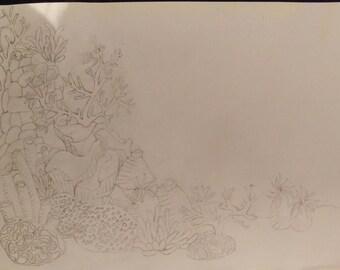 Under the sea coral sketch