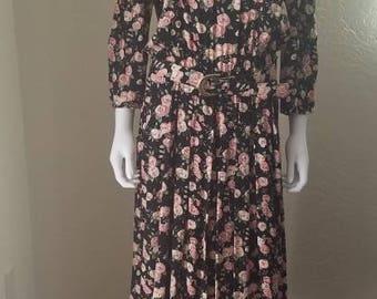 90s Long Sleeve Spring Floral Dress