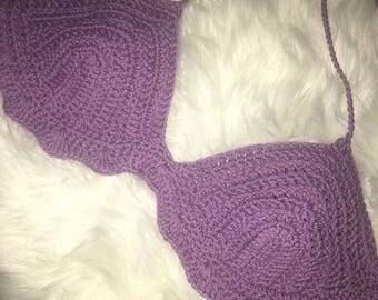 Karma's Crochet Apparel LAVENDER 100% Organic Cotton bralette