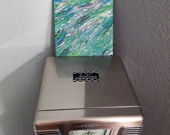 Blue and green acrylic painting, one of a kind abstract painting for home or office, stretched canvas, original art, small square painting