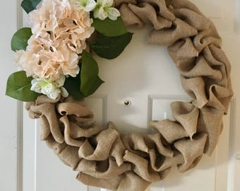Burlap Wreath Front door Floral wreath