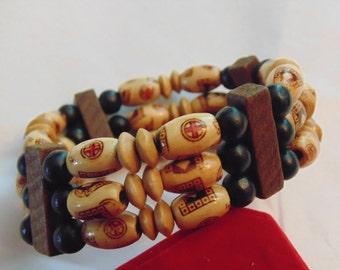 Vintage faux wood bracelet