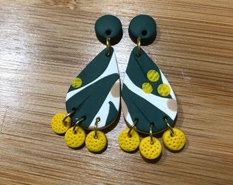 Wattle Dangle Earrings - Polymer Clay
