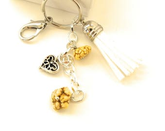 Leather Tassel Yellow Turquoise Gemstone Key Chain White