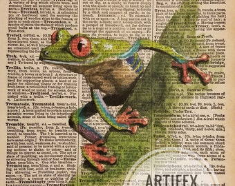 Print: Antique Dictionary Art 'Tree-frog' Watercolor Painting
