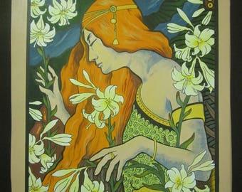 Vintage Art noveau painting