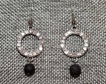 Sparkling Circle and Lava Rock Earrings