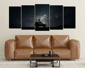 Starry Night Cosmos Canvas Wall Art, Star Gazing, Shooting Star, Desert Night, Stars, Large 5 Panel Print