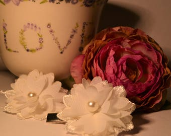 Lace & Flower Hair Clips