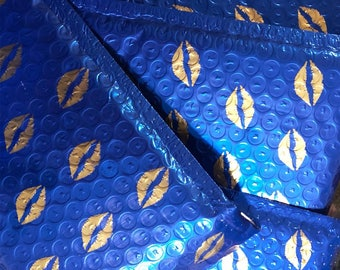 """50 Pack Metallic Blue Bubble Mailers with Gold Lips 5"""" X 7"""" Self Sealing Padded Envelopes *FREE SHIPPING*"""
