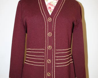 Vintage Burgundy Cardigan Sweater with  Gold Details Button Up Red Sweater Rare Maroon St. John Collection by Marie Gray