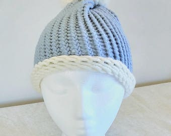 Child (ages 1-2 and 4-10 ) Pom Pom Hat, Bobble Hat. Cornflower Blue & White. Made from the finest soft merino wool.