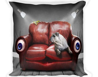 Dog On Sofa Funny Square Pillow. Print on demand pillow.