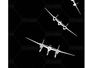 P-38 Lightning white vinyl decals