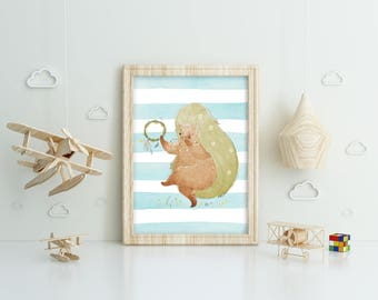 Printable poster, instant download. Cute hedgehog with tambourine on a watercolor background, wall art design, clip art, for kids
