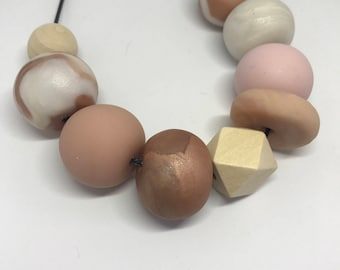 Rose gold, pink and flesh polymer necklace