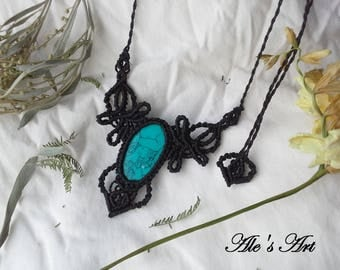 Blue Howlite macrame necklace, gemstone bohemian pendant, unique handmade jewelry