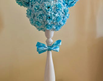 It's A Boy Mickey inspired centerpiece.  Disney gender reveal.  Baby shower. Disney themed shower.  Mickey topiary.