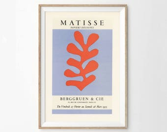 Print of the Matisse poster for the 1953 exhibition of paper cut-outs at the Berggruen gallery in Paris - Eclectic Home Decor