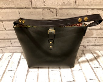 Handmade Black Leather Shoulder bag, fully lined.