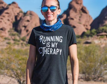 Running is my Therapy Triblend T-shirt - Women's - Black