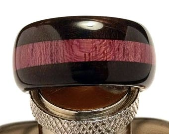 Handcrafted Ebony and Purpleheart Wood Ring