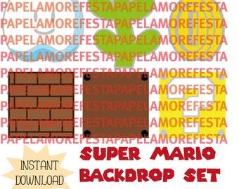 Super Mario Blocks Backdrop Set - Super Mario Theme Party- EPS - SVG - PDF - Cut File