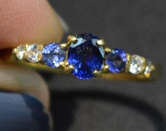 1940's 18k Sapphire and Diamond ring