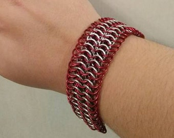 Chain Bracelet- Red and Silver