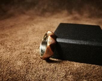 Mokume gane ring - bronze, copper, sterling silver liner, guri bori