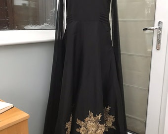 BLACK ANARKALI with CAPE sleeves