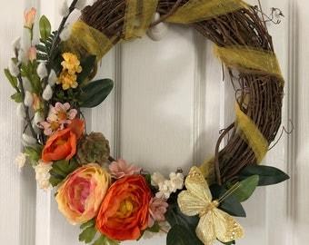 Grapevine Wreath - Spring Florals, all season